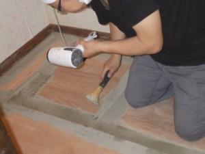 乾燥中 床補修 脱衣所 洗面台 工事