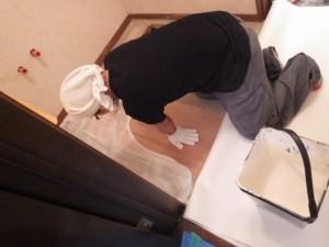 施工中 床 工事 洗面台 脱衣所 クロス